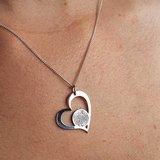 zilveren hart vingerafdruk sieraad
