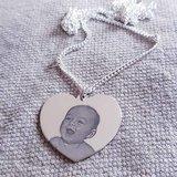 zilveren hart met fotogravure