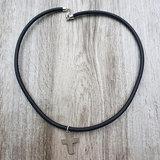 Zwart Lederen ketting met zilveren sluiting