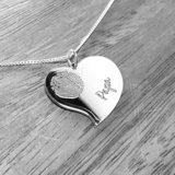 Zilveren hart hanger met vingerafdruk en naam