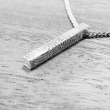 Zilveren staaf hanger met vingerafdruk in 3d