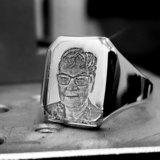 zilveren zegelring met foto