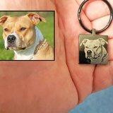 Sleutelhanger met foto hond vierkant zwart
