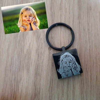 Vierkante sleutelhanger met foto - slijtvaste zwarte coating