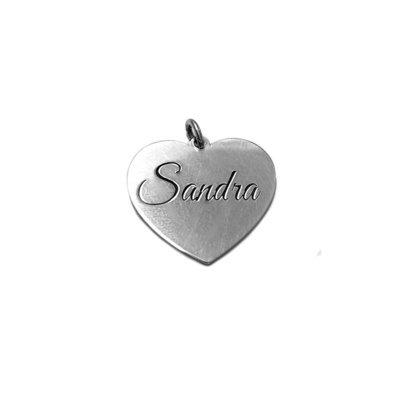 Zilveren hart met naam