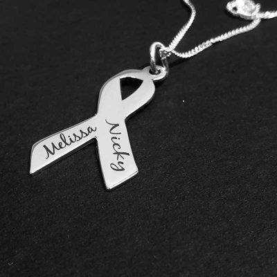 Zilveren pink ribbon hanger met naam