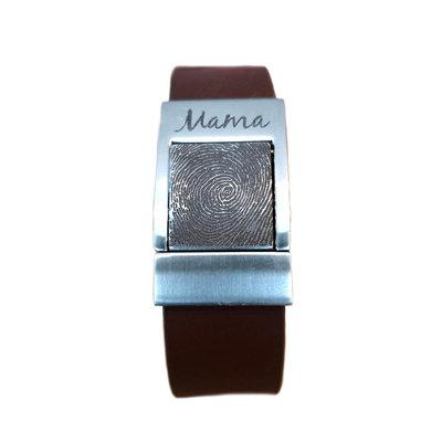 Armband met vingerafdruk effen bruin
