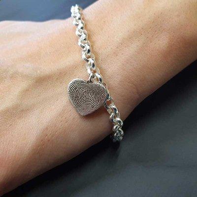 Zilveren armband met vingerafdruk bedel