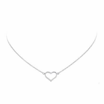 Zilveren collier met een open hart