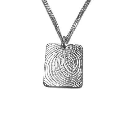 Zilveren Hanger met Vingerafdruk Rechthoek