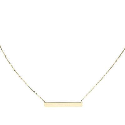 Gouden collier met naam bar