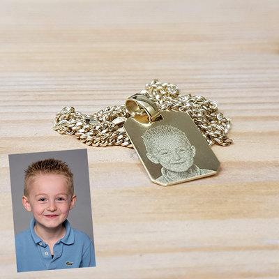 Rechthoekige gouden kettinghanger met foto