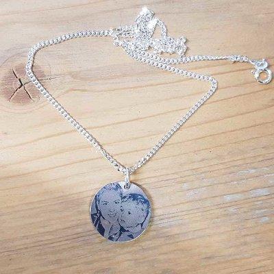 zilveren ketting hanger met foto Rond