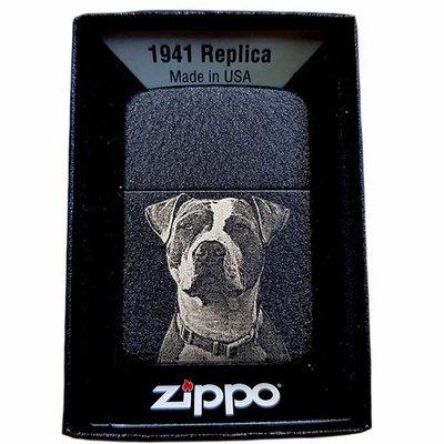 Zippo met fotogravure Black crackle