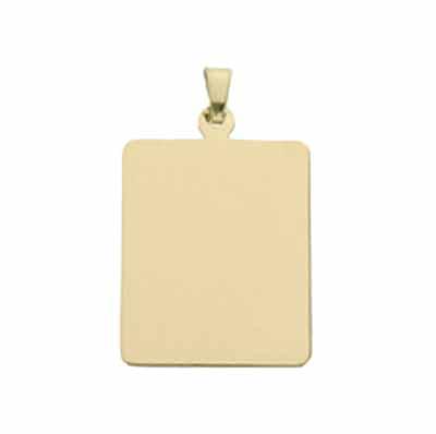 Gouden ketting hanger met foto rechthoek large
