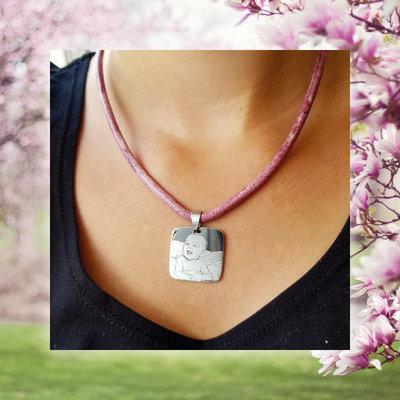 Lederen ketting hanger met foto Vierkant model