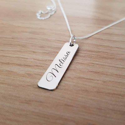 Zilveren naam hanger 30x7 mm
