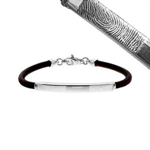 Lederen heren armband met zilveren naamplaat