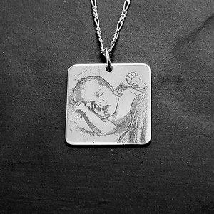 zilveren hanger met foto vierkant