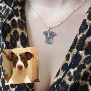 zilveren fotohanger vrijstaand met hond