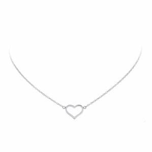 zilveren collier met open hartje als hanger