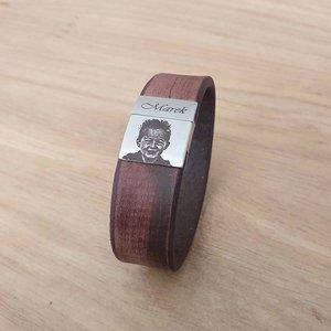 lederen armband met foto in de kleur bruin