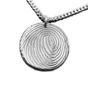 zilveren ronde hanger met vingerafdruk