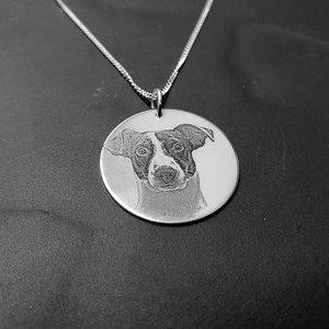 zilveren hanger met foto hond cirkel 925 zilver
