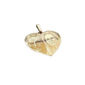 Gouden hanger hart met foto 30 mm