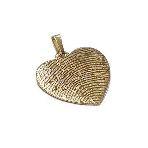 Gouden hart hanger met vingerafdruk