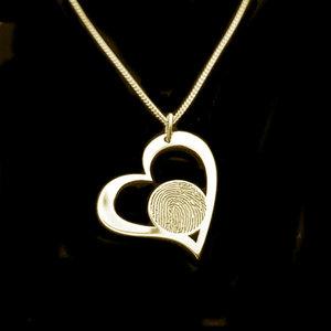 Gouden hanger hart et vingerafdruk