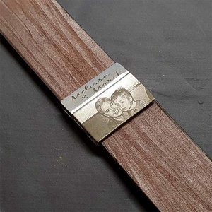 armband met foto 30 mm bruin leer