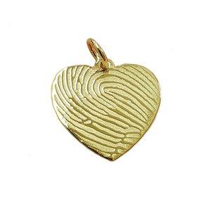 Gouden hartje met vingerafdruk 16 mm