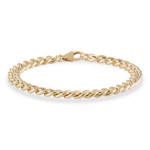 gouden schakelarmband hol 6,0 mm en 19 cm lang