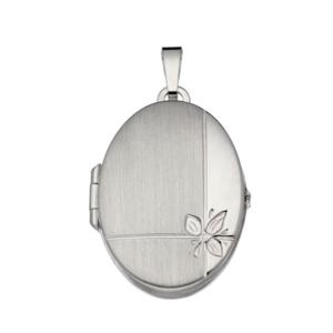 zilveren medaillon ovaal met bloemmotief