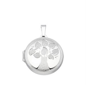 zilveren medaillon rond met levensboom