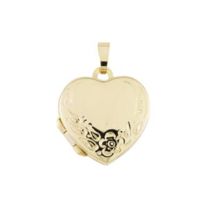 gouden medaillon hart met bloem motief 18x19mm