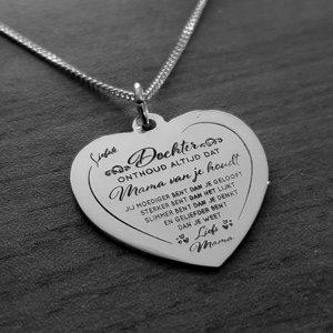 zilveren hart hanger moeder dochter