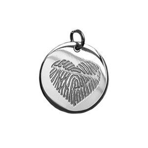 zilveren hanger rond met vingerafdruk hartvorm