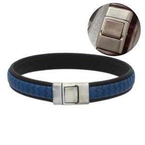 lederen armband blauw met vingerafdruk Gents