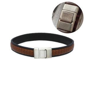 lederen armband bruin zwart met vingerafdruk