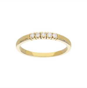 gouden ring rijzetting met vijf diamanten