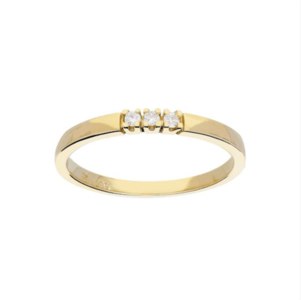 Gouden ring met drie diamanten rijzetting