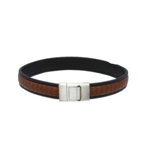 Lederen armband bruin zwart met initiaal in zilver