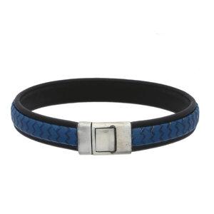 Lederen armband blauw met initiaal in zilver