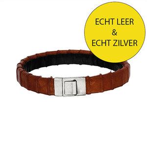 Lederen armband bruin met initiaal in zilver