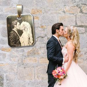 Gouden ketting hanger met foto