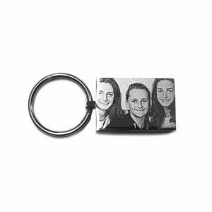 sleutelhanger met foto rechthoek rvs